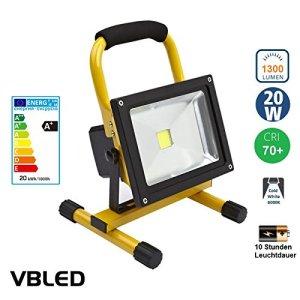 20W 10 Stunden Leuchtdauer LED Akku Strahler gelb 230/12/24 Volt 1300 Lumen 5700K (Baustrahler / tragbarer Scheinwerfer)